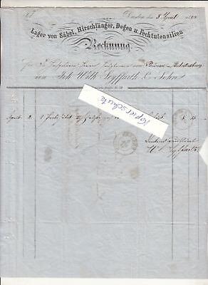 Rechnung Seyffarth Dresden Säbel Hirschfänger Degen Fechtutensilien 1864 !