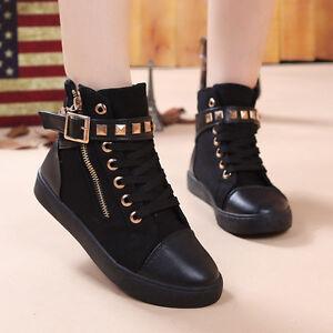 Cute Fashion Sneakers Canvas Women Girls Lace up Round Toe Zip Rivet Preppy Shoe