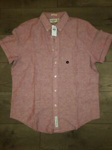 NEW-Abercombie-amp-Fitch-Mens-Short-Sleeve-Shirt-Muscle-Fit-Buttonup-Red-Size-XL