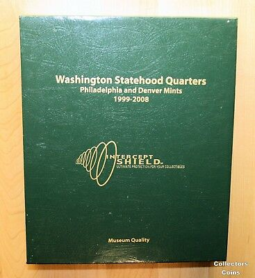 Intercept Shield Quality Coin Album For 50 State Quarters P/&D 1999 2008 Free S/&h