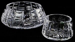 Waterford-Cut-Polished-Crystal-7-034-4-034-Bowl-Set-Medium-Irish-Glass-Signed-Dish