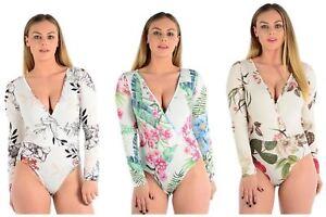Ladies Plunge V-neck Floral Leaf Printed Wrap Over Bodysuit Leotard Top 8-14