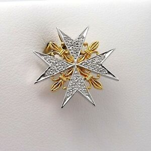 NEW-18K-2-Tone-Gold-Pave-Diamond-Orders-of-Chivalry-France-Maltese-Cross-Pendant