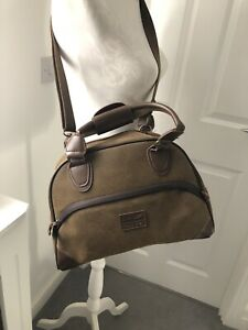 BNWOT-Kangol-Brown-Faux-Suede-Bowling-Bag-Holdall-Hold-all-Across-Body-Bag-90s