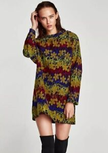 cc334acfec BNWT Zara Embroidered Floral Dress Size S 10 12 Mini Long Sleeve ...