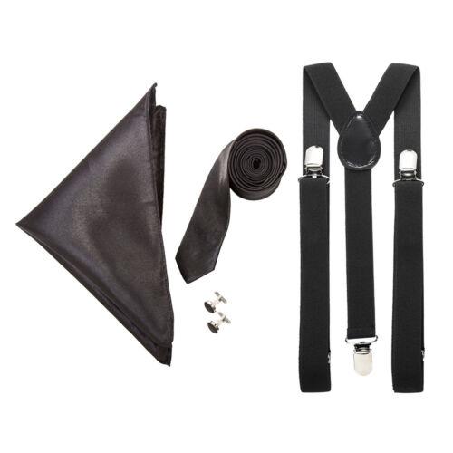 "Men/'s Funeral Set Cufflinks /& Pocket Square Black 3/"" Tie w// Matching Braces"