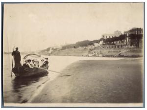 Egypte-en-bateau-sur-le-Canal-de-Suez-Vintage-silver-print-Tirage-argentiq