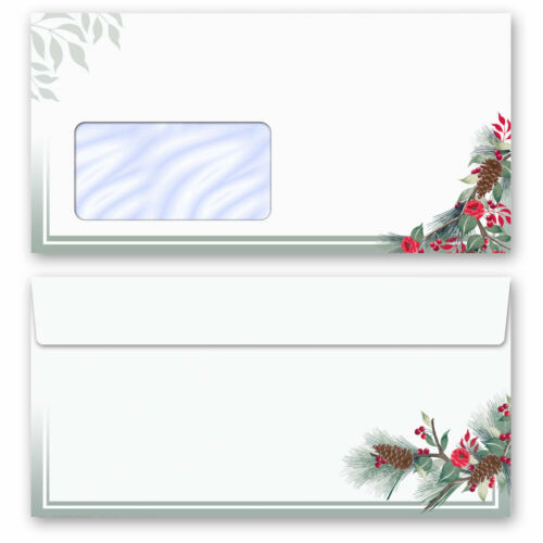 Motiv-Briefpapier-Set WINTERZWEIGE 40-tlg mit Fenster DL Set