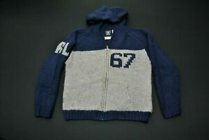 RARE-VTG-Polo-Ralph-Lauren-Wool-Sweater-Men-039-s-Large-L-Gray-Blue-Hoodie-67-RL