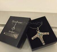 Bloodborne Sword Hunter Necklace Pendant - Solid White Bronze Topaz Gem On Cord