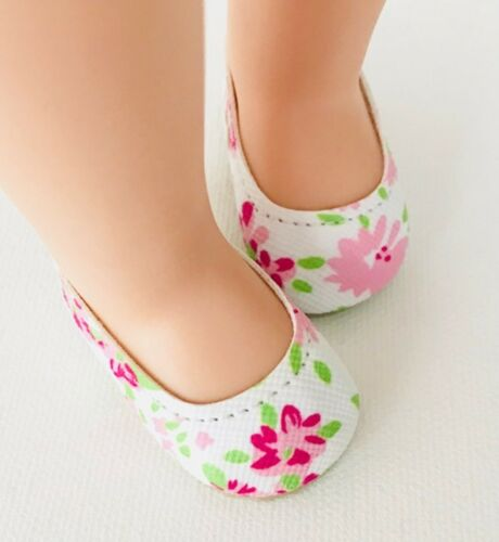 Doll Shoes 50//25mm FLORAL Slip-ons fit Wellie Wishers