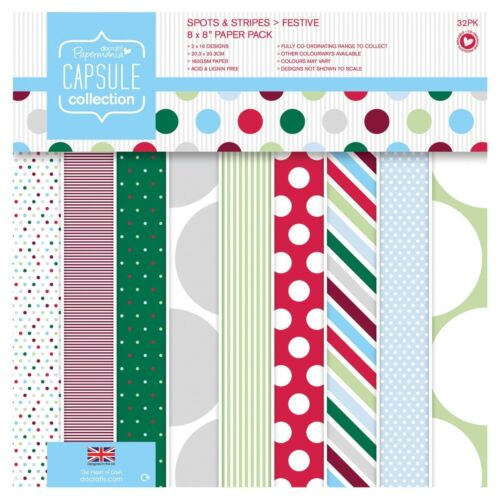 """Docrafts 8/""""x8/"""" PAPER PACK Spots /& Stripe Festive Capsule Collection"""