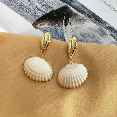 Fashion Femmes Natural Pearl Shell Conch Statement Dangle Boucles d/'oreilles pendantes bijoux