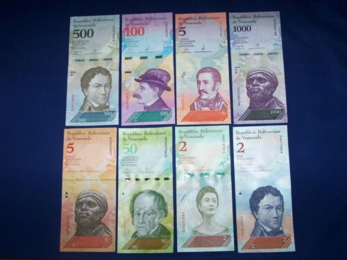 Lot of 8 Different Bank Notes from Venezuela