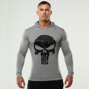 The Punisher Men Gym Thin Hoodie Long Sleeve Hoodies Sweatshirt ...