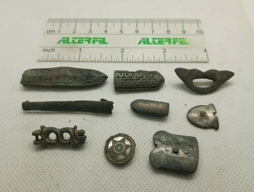 Lot of 9  Perfect Ancient Bronze  DECORATION FOR BELT Viking Age  #202
