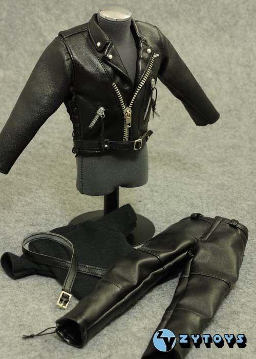 """ZY Toys Female Clothes 1//6 Black T-800 Women Leather Suit F 12/"""" Action Figure"""