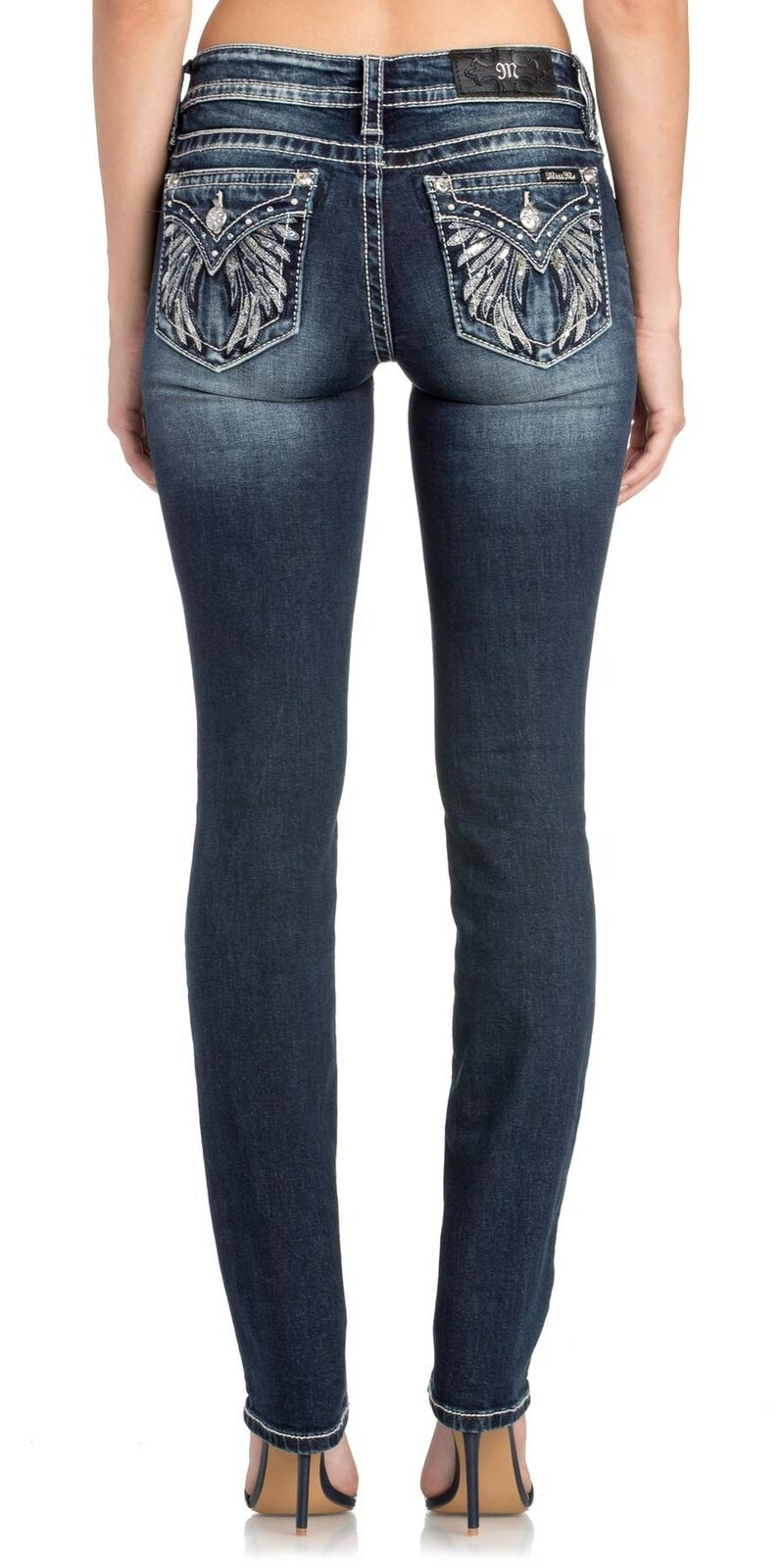 Miss Me Women's Mid-Rise Straight Leg Jeans, Dark bluee 27