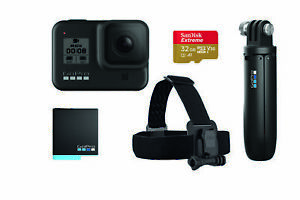 Bundle-Videocamera-GoPro-HERO8-Black-con-Head-Strap-3-way-Batteria-e-Scheda-SD