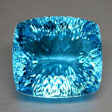 36.92CTS AMAZING HUGE CUSHION CONCAVE CUT NATURAL SWISS BLUE TOPAZ WATCH VIDEO