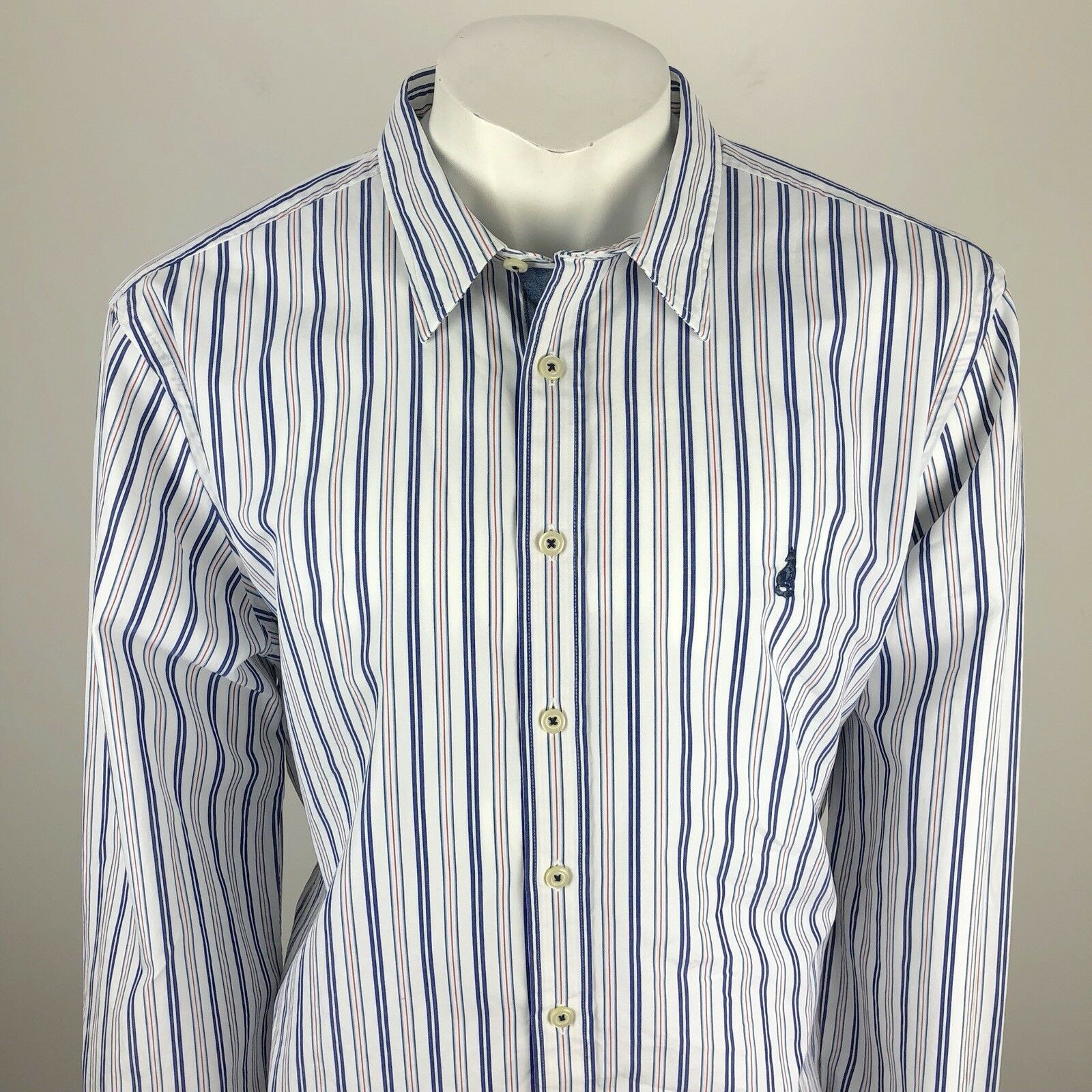 Thomas Pink Mens Striped Button Down Shirt White Red bluee - Size Large