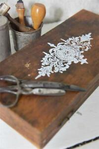 Jeanne-d-039-Arc-Living-Vintage-Schablone-Corner-Stempel-Oval-Flower-8cm-Stamp
