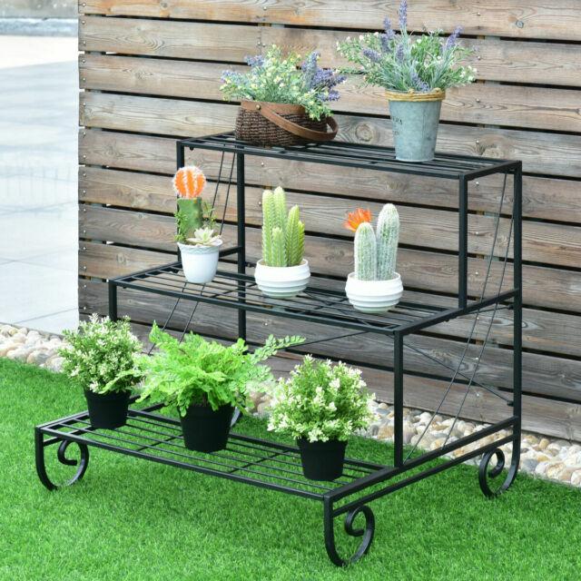 3 Tier Outdoor Metal Plant Stand Flower Planter Garden Display Holder Shelf Rack