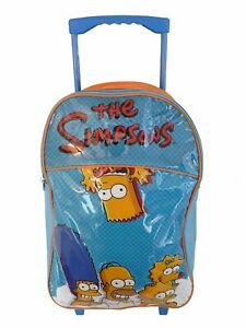 SIMPSONS-LARGE-CHILDREN-039-S-LUGGAGE-TROLLEY-BACKPACK-SUITCASE-BAG-ON-WHEELS-NEW