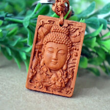 Buddha Dragon Shakyamuni Statue Wood Carving Chinese Pendant Key Chain Keyring