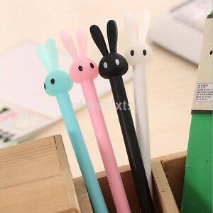 2x-Cute-Kawaii-0-38mm-Gel-Black-ink-Roller-Ball-Point-Pen-Rabbit-Pattern-New-CA