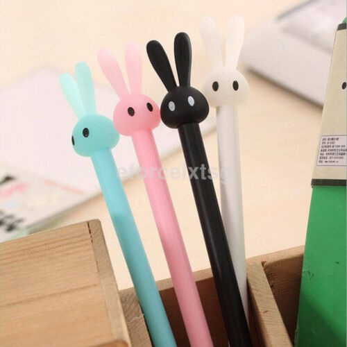 2x Cute Kawaii 0.38mm Gel Black ink Roller Ball Point Pen Rabbit Pattern New CA