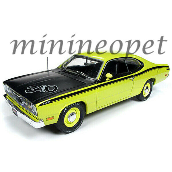 Autoworld AMM1154 1971 Plymouth Duster 340 1 18 Diecast Modelo Coche giallo verde