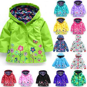 343105094 Baby Girl Kid Winter Hooded Rain Coat Jacket Animal Flower Windproof ...