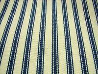 Blue Cream Cotton French Ticking Fabric 214cm Per Metre --SUPER WIDE