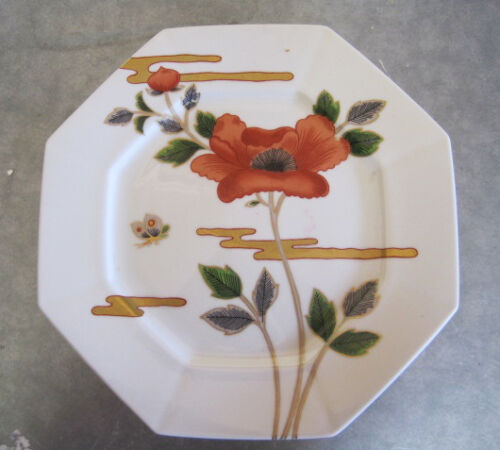 butterfly gold trim Fitz and Floyd Fleur et Nugges 10 inch dinner plate Poppies