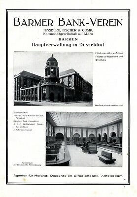 Bank Verein Barmen In Düsseldorf Xl Reklame 1925 Werbung Hinsberg & Fischer