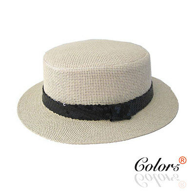 New Ladies Straw Pork Pie Fedoar Trilby Hat with Black Sequins Band Dance Party