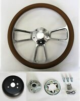60-69 Chevy Pick Up Truck C10 Steering Wheel Tan And Billet 14 Shallow Dish