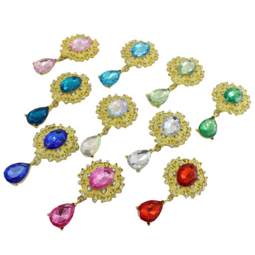 10x Assorted Water Drop Crystal Flatback Buttons Wedding Jewelry Making Gold