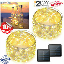 Solar String Lights 2-Pack 200 LED Christmas Light Fairy Decorative Warm 72ft