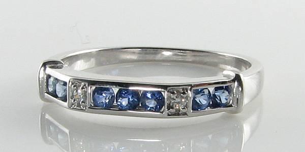 9k 9CT WHITE gold CEYLON SAPPHIRE DIAMOND ETERNITY ART DECO INS RING Size M 1 2
