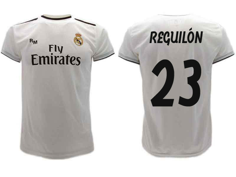 Camiseta Real Madrid Reguilón 2019 Oficial Uniforme 2018 Sergio 23 Home blancoo
