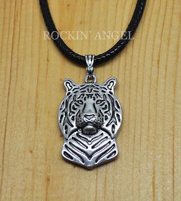 Antique Silver Plt 3D Tiger Necklace Pendant ladies Mens Animal Wildlife Gift