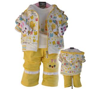 pantalon top Tout-petit filles 3pc sport style outfit set lapin taille 1-3years veste