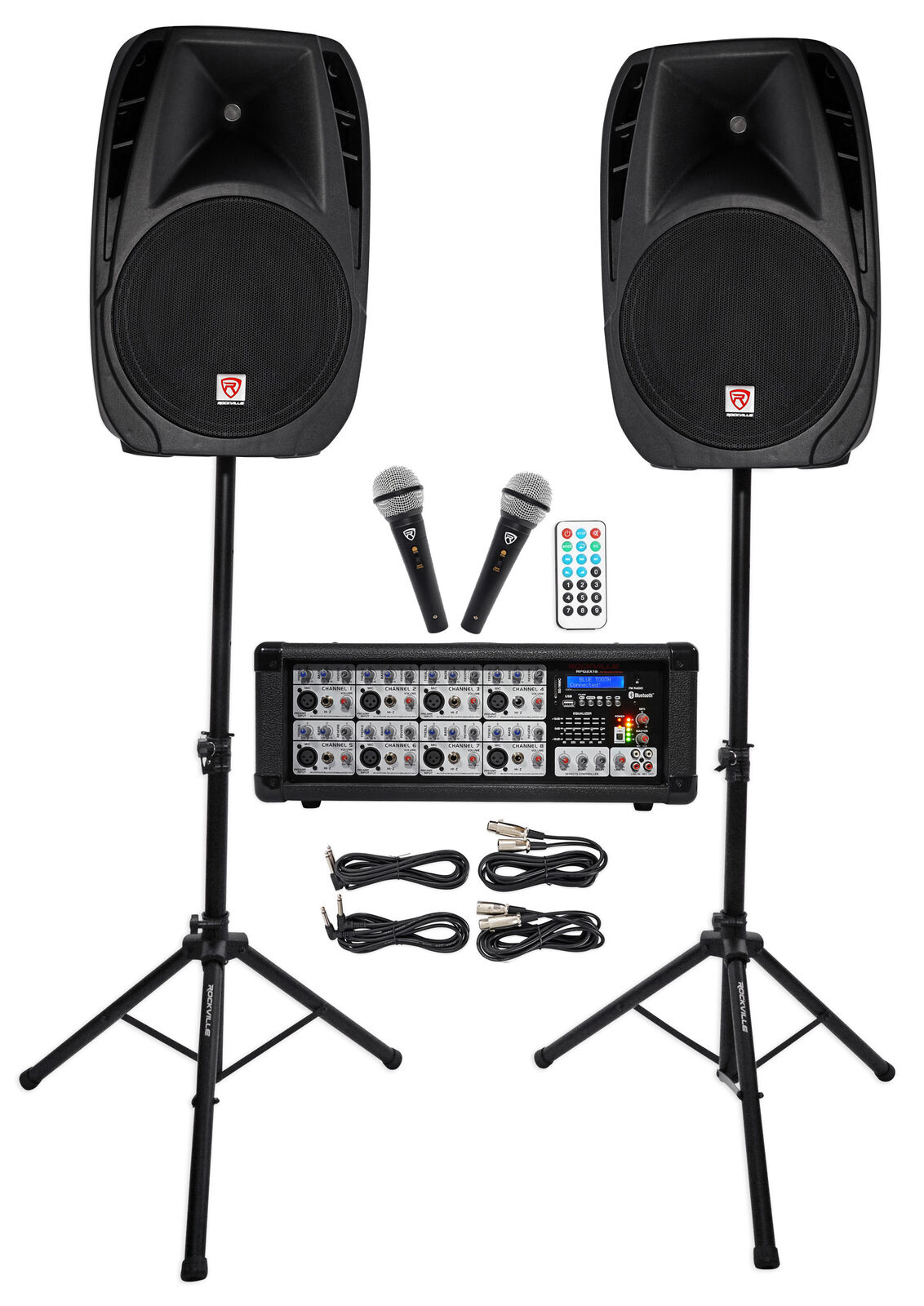 Rockville RPG2X15 Package PA System Mixer/Amp+15