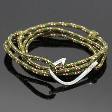 Handmade Nautical Rope Cord Fish Hook leather Bracelet Fashion 2016