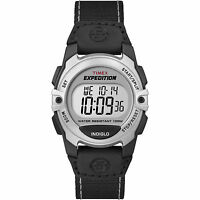 Timex T49957 Expedition Chrono Alarm Timer Mid-Size Watch (Black-Silver)