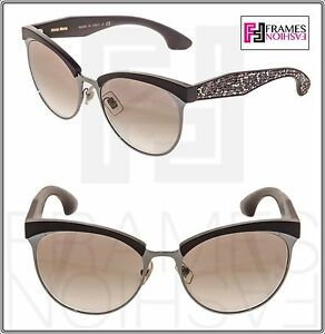 f1d1eeac96e9 MIU MIU STARDUST 54Q Cat Eye Brown Pave Crystal Sunglasses MU54QS ...