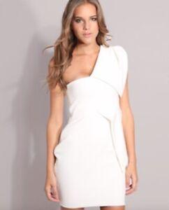 Aqua-Couture-Elfenbein-asymmetrisches-One-Shoulder-Anna-Bodycon-Kleid-Groesse-10-Euro-38