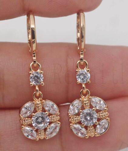 Clear Zircon Tiger Eye Cross Gems Wedding Women Dangle Earrings 18K Gold Filled